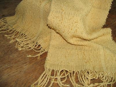 handwoven and dyed silk scarf