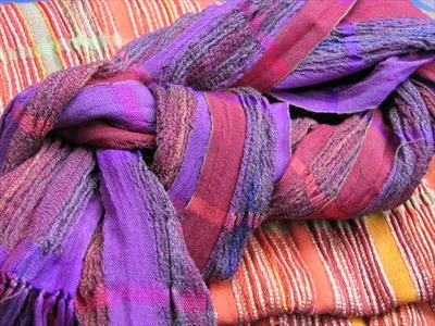 2 handwoven silk & wool scarves