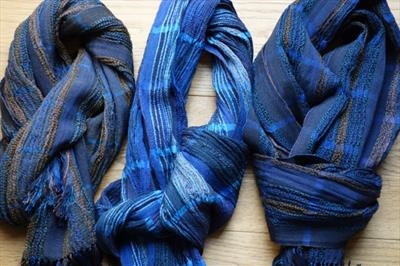 3 Handwoven silk & wool scarves